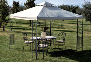 GAZEBO IN METALLO MT.3X3 DECOR. ECRU